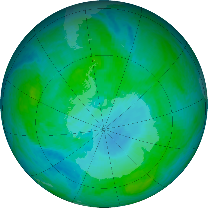 Antarctic ozone map for 14 January 2002