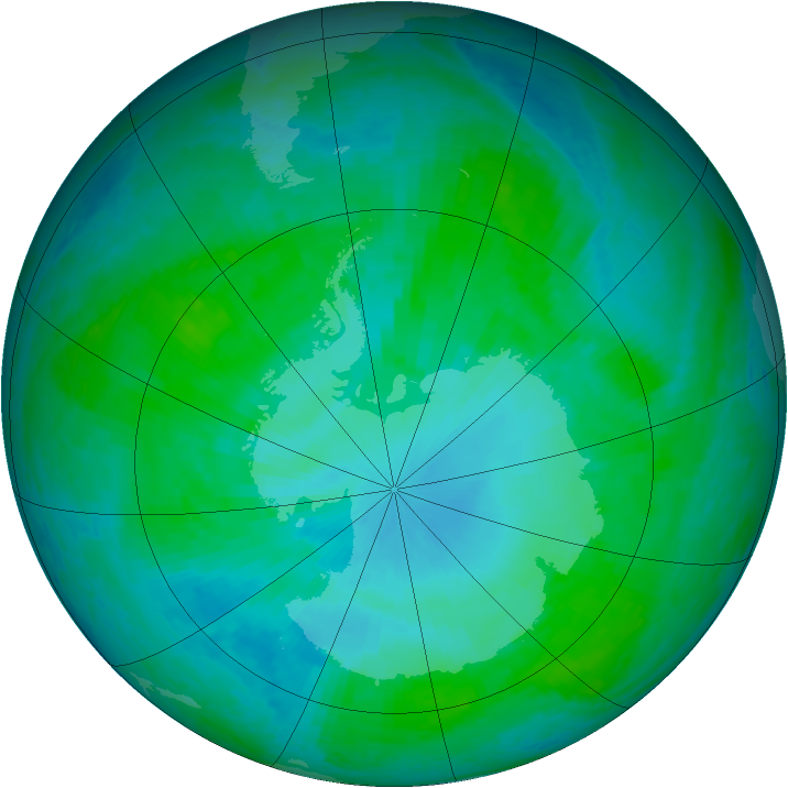 Antarctic ozone map for 16 January 2002