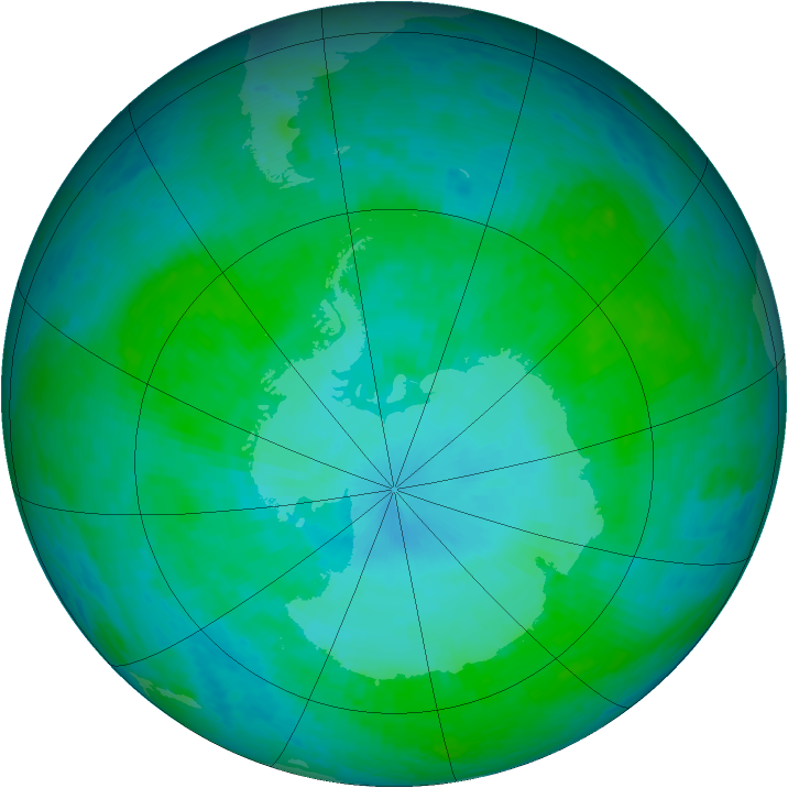 Antarctic ozone map for 19 January 2002