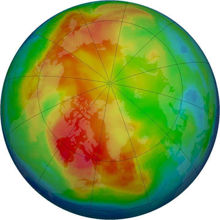 Arctic ozone map for 20 January 2002