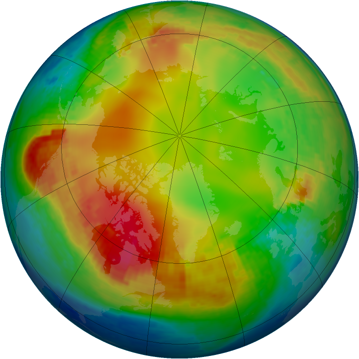 Arctic ozone map for 25 January 2002