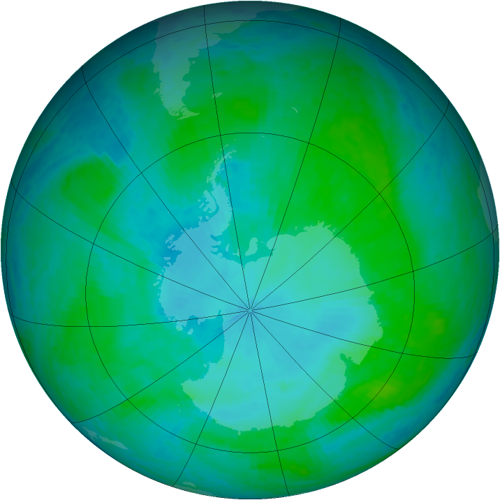 Antarctic ozone map for 25 January 2002
