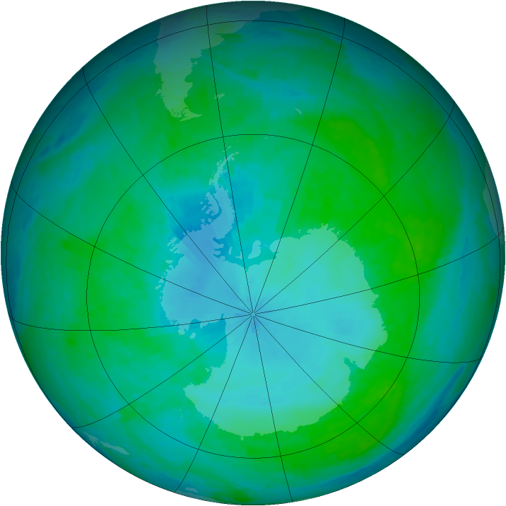 Antarctic ozone map for 27 January 2002