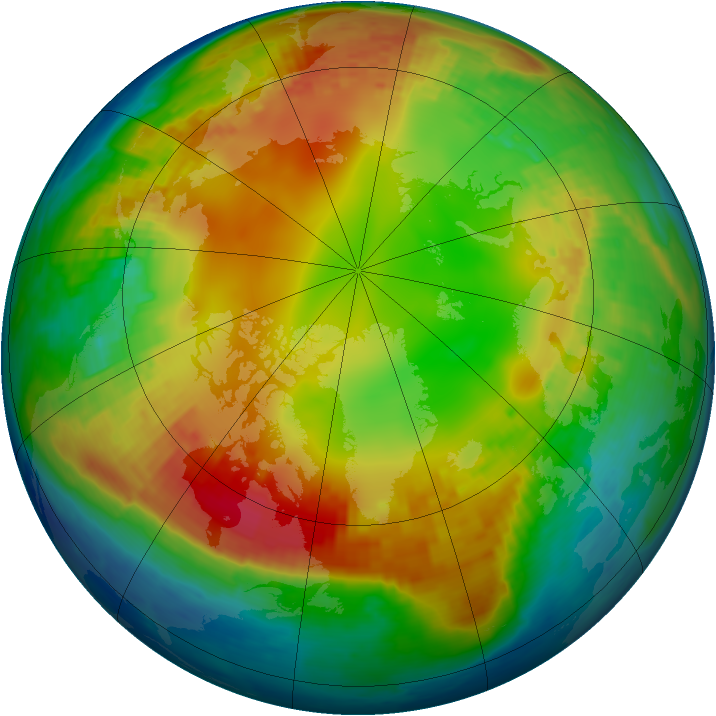 Arctic ozone map for 29 January 2002