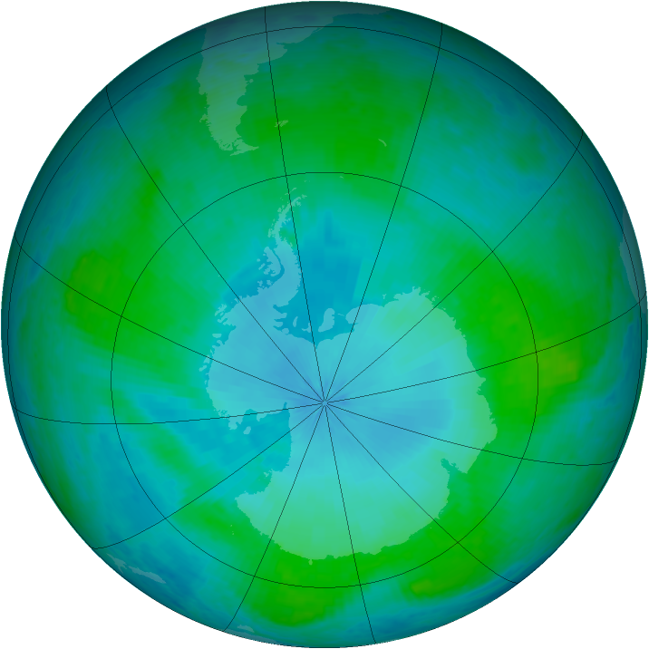 Antarctic ozone map for 30 January 2002