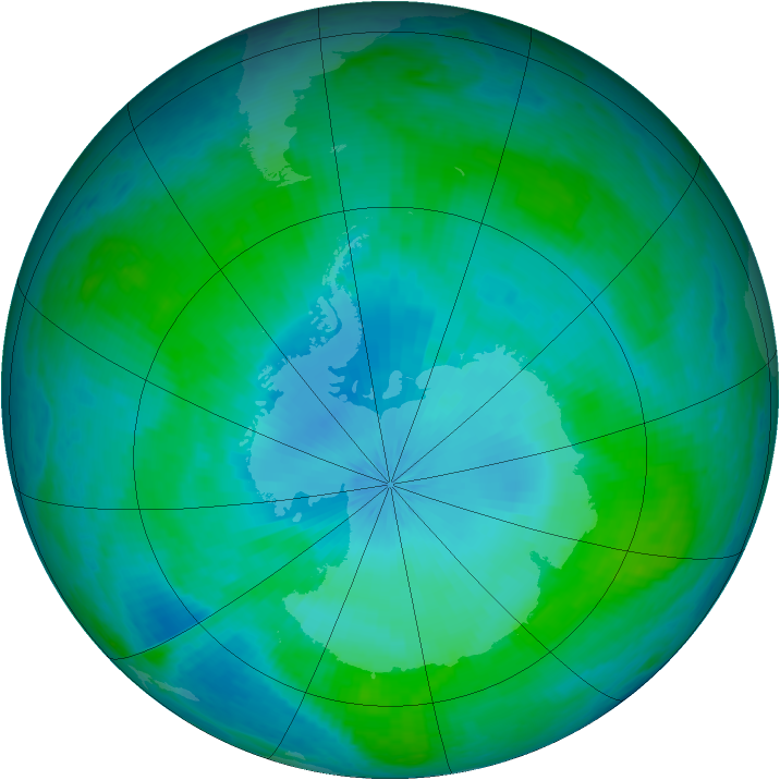 Antarctic ozone map for 01 February 2002