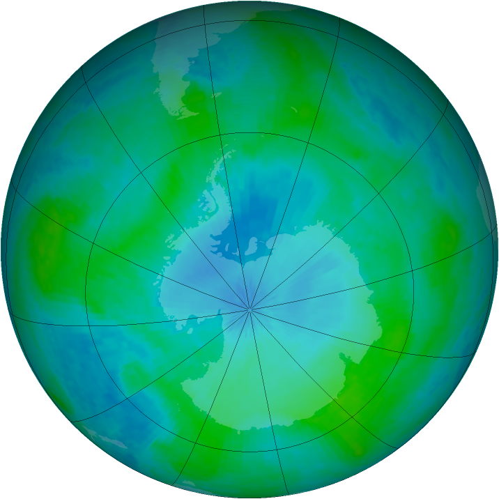 Antarctic ozone map for 03 February 2002