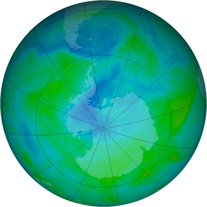 Antarctic ozone map for 06 February 2002
