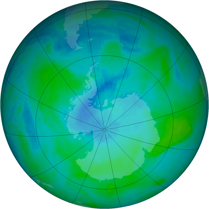 Antarctic ozone map for 07 February 2002