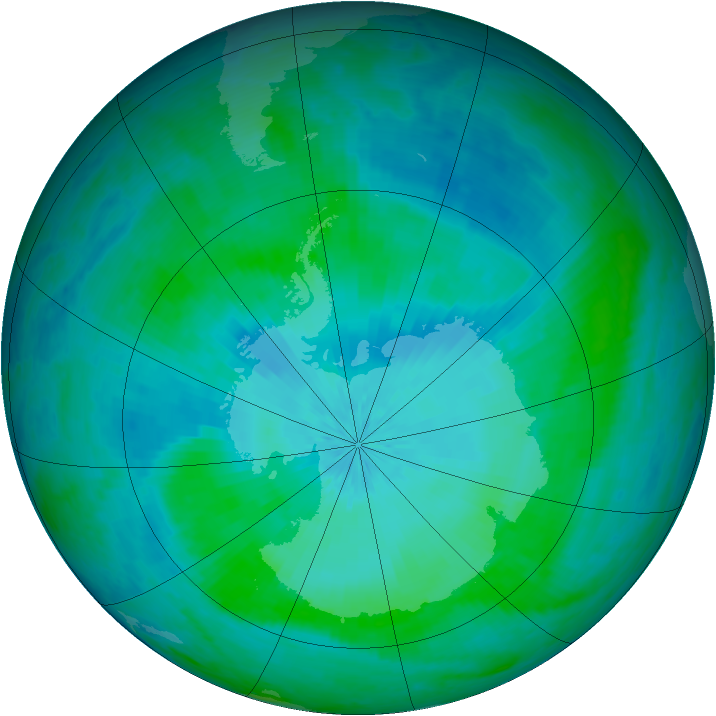 Antarctic ozone map for 10 February 2002