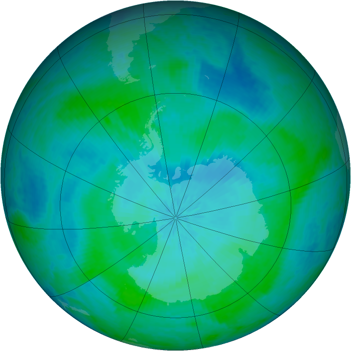 Antarctic ozone map for 11 February 2002