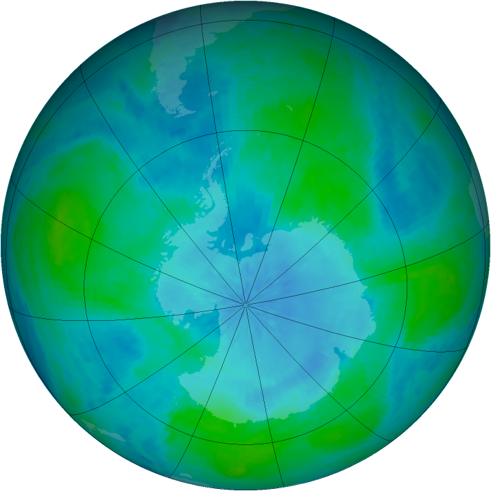 Antarctic ozone map for 17 February 2002