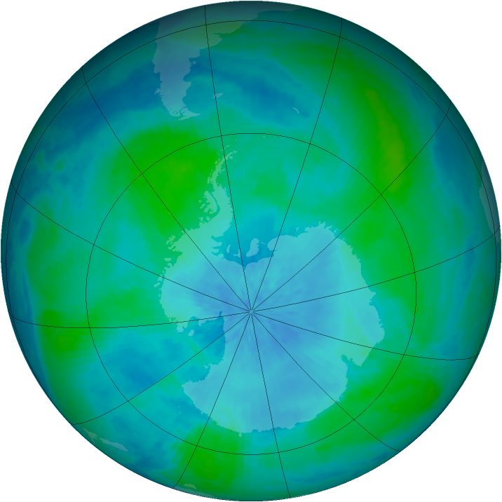 Antarctic ozone map for 21 February 2002
