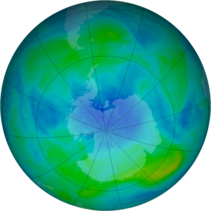 Antarctic ozone map for 01 March 2002