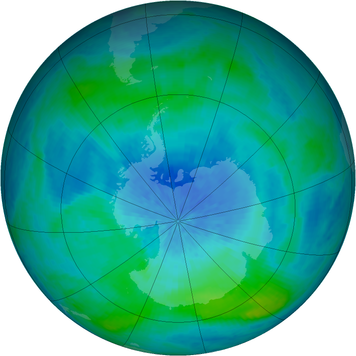 Antarctic ozone map for 02 March 2002