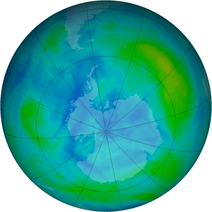 Antarctic ozone map for 14 March 2002