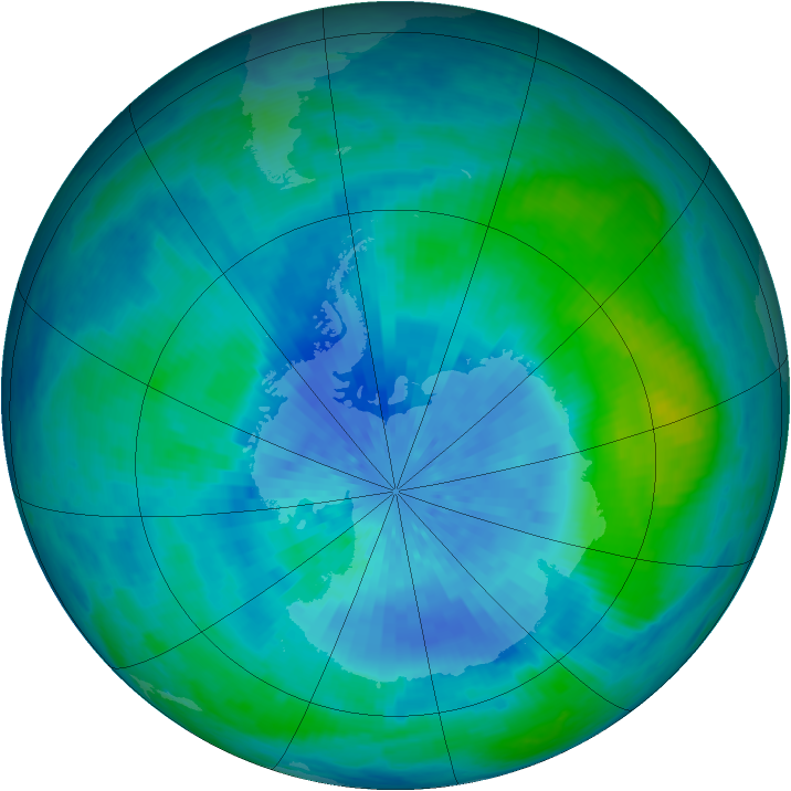 Antarctic ozone map for 16 March 2002