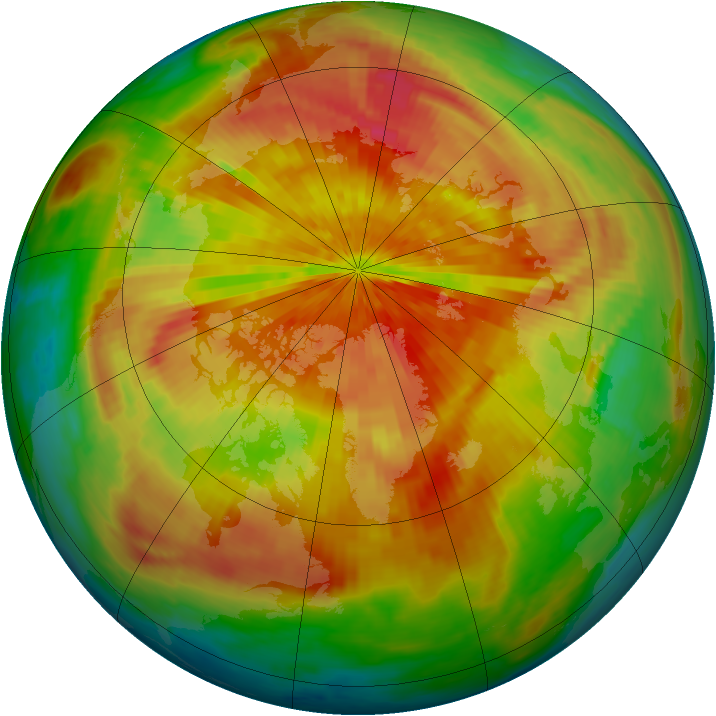 Arctic ozone map for 31 March 2002