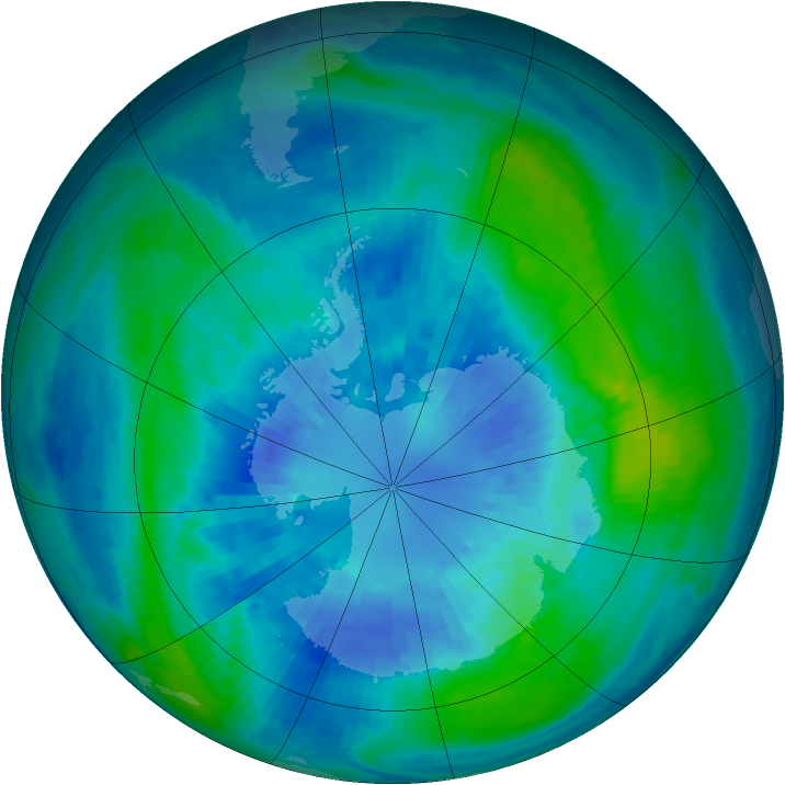 Antarctic ozone map for 31 March 2002