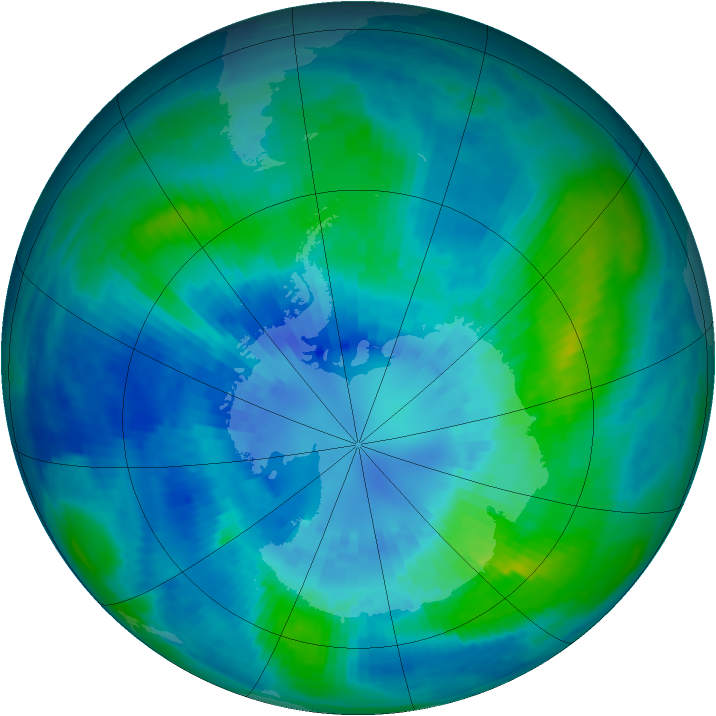 Antarctic ozone map for 03 April 2002