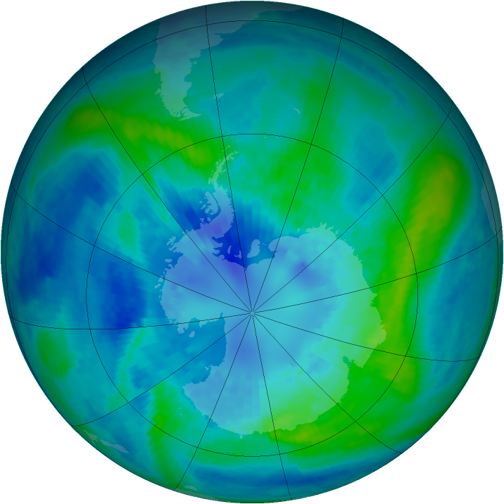 Antarctic ozone map for 04 April 2002