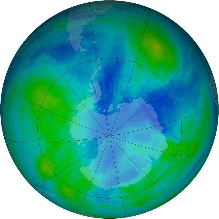Antarctic ozone map for 14 April 2002