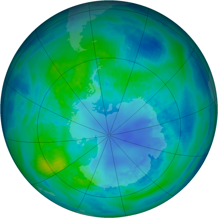 Antarctic ozone map for 18 April 2002