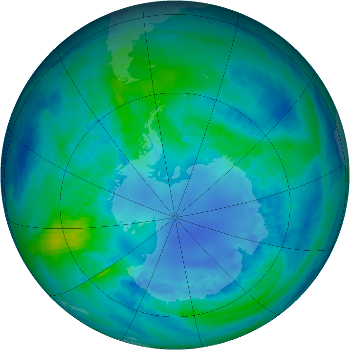 Antarctic ozone map for 19 April 2002