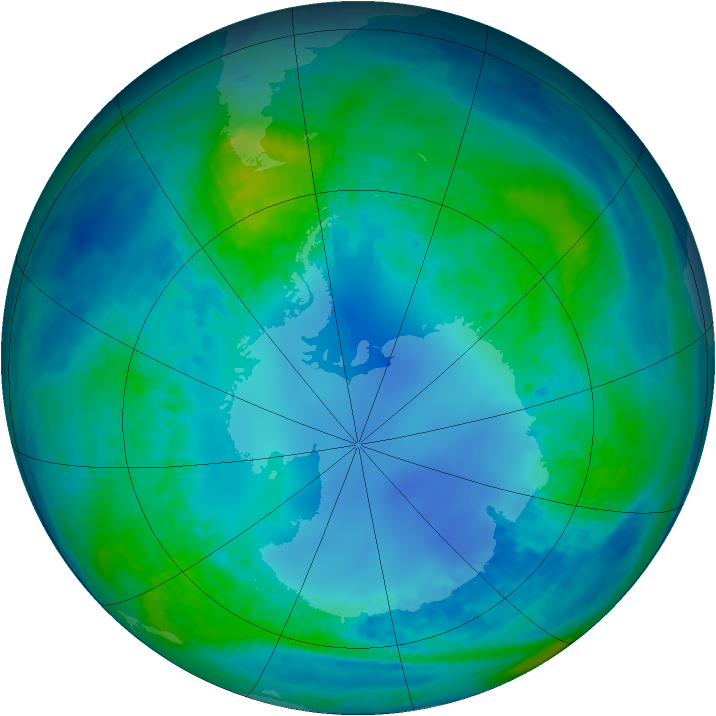 Antarctic ozone map for 01 May 2002