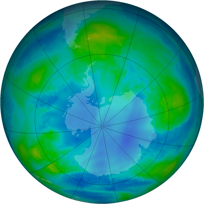 Antarctic ozone map for 03 May 2002