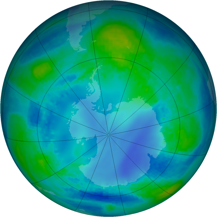 Antarctic ozone map for 04 May 2002