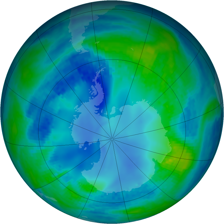 Antarctic ozone map for 07 May 2002