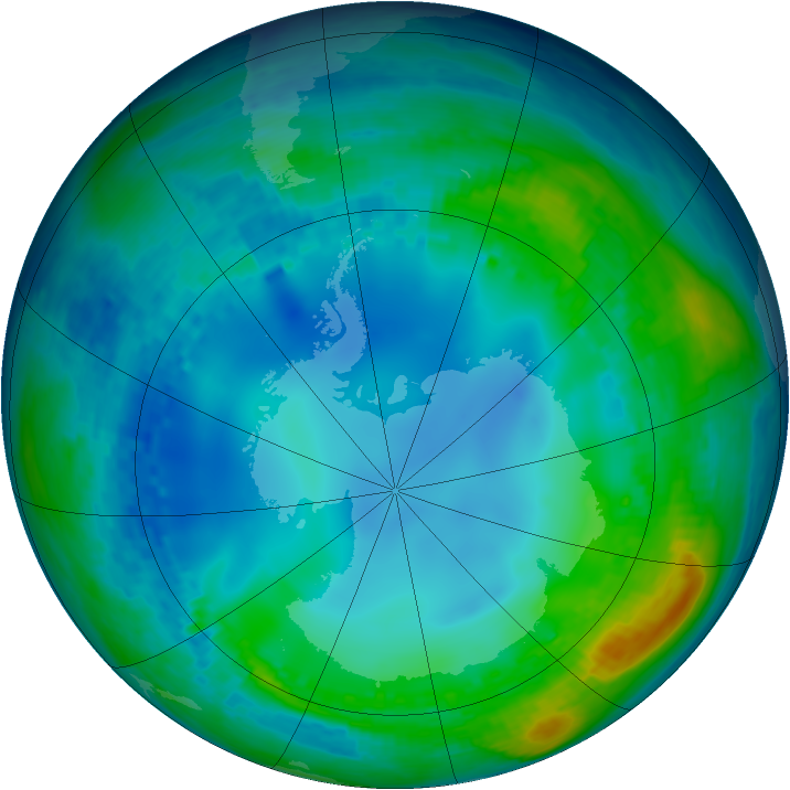 Antarctic ozone map for 23 May 2002