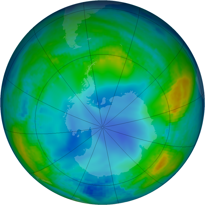 Antarctic ozone map for 29 May 2002