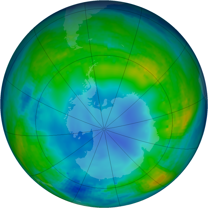 Antarctic ozone map for 30 May 2002