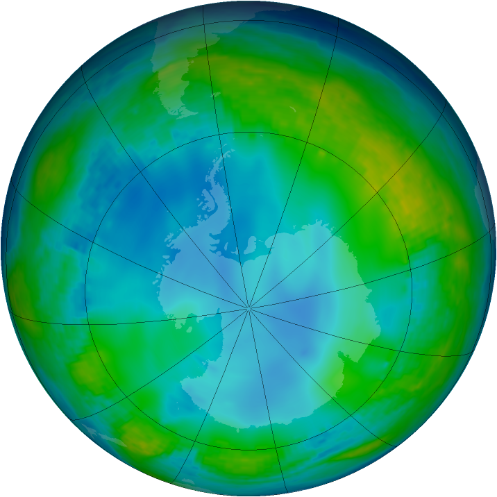 Antarctic ozone map for 09 June 2002