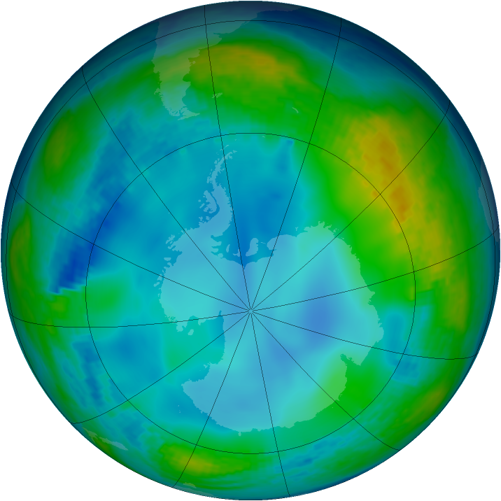 Antarctic ozone map for 10 June 2002