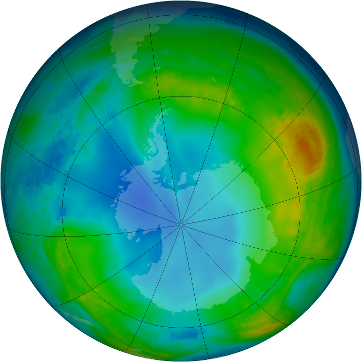 Antarctic ozone map for 17 June 2002