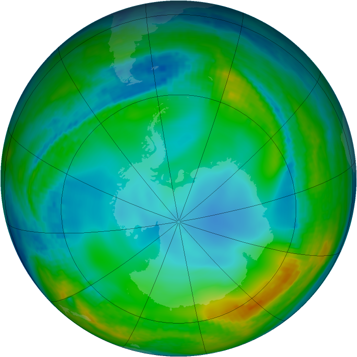 Antarctic ozone map for 01 July 2002