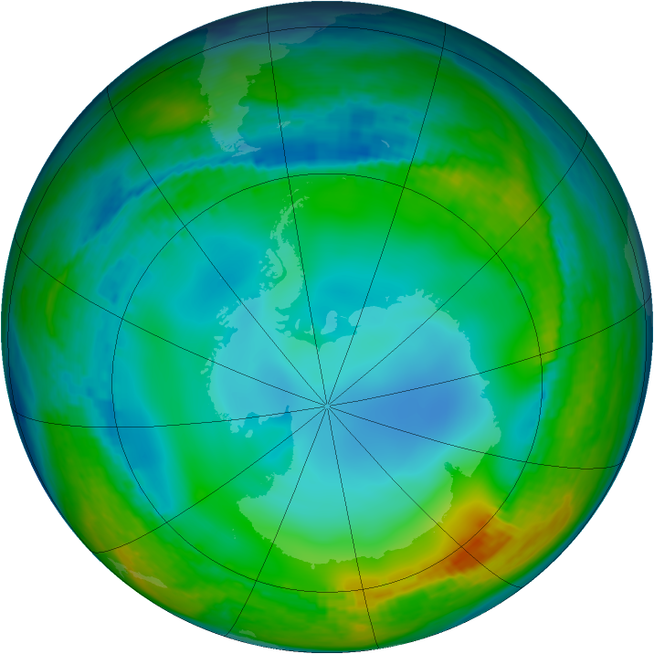 Antarctic ozone map for 02 July 2002