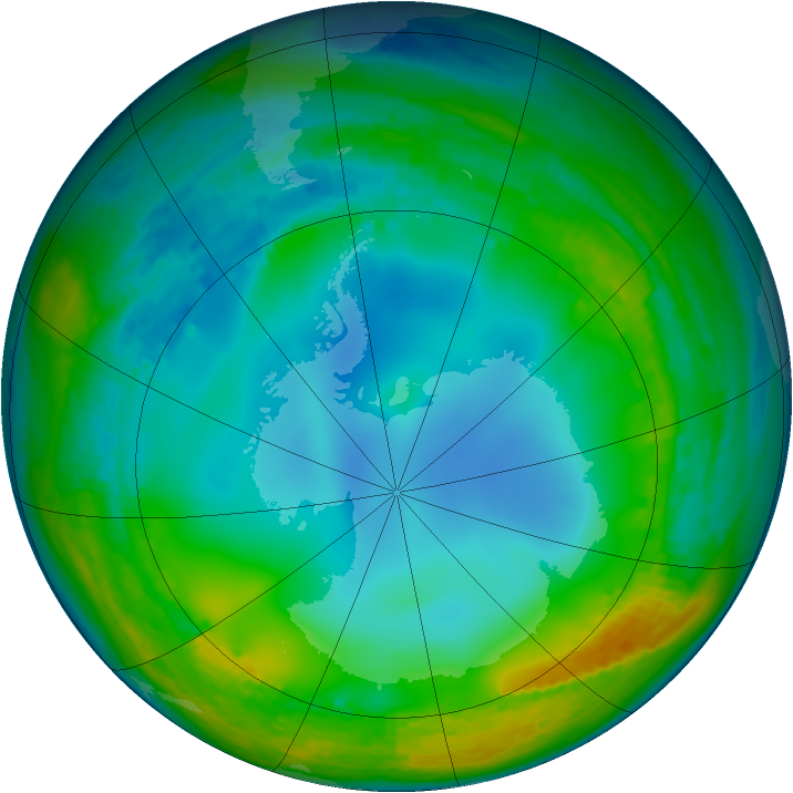 Antarctic ozone map for 04 July 2002