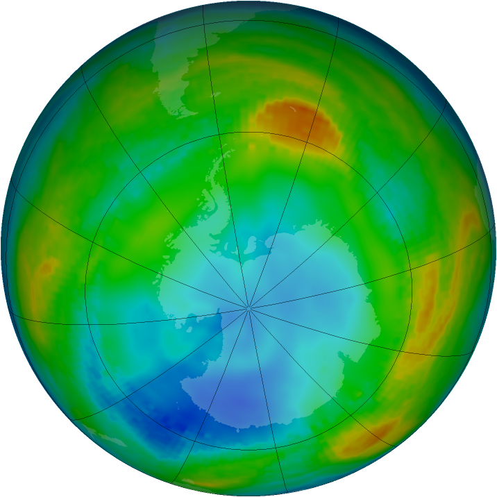 Antarctic ozone map for 16 July 2002