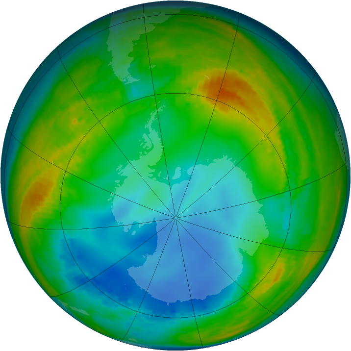 Antarctic ozone map for 18 July 2002