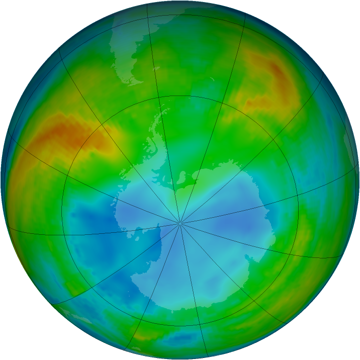 Antarctic ozone map for 20 July 2002