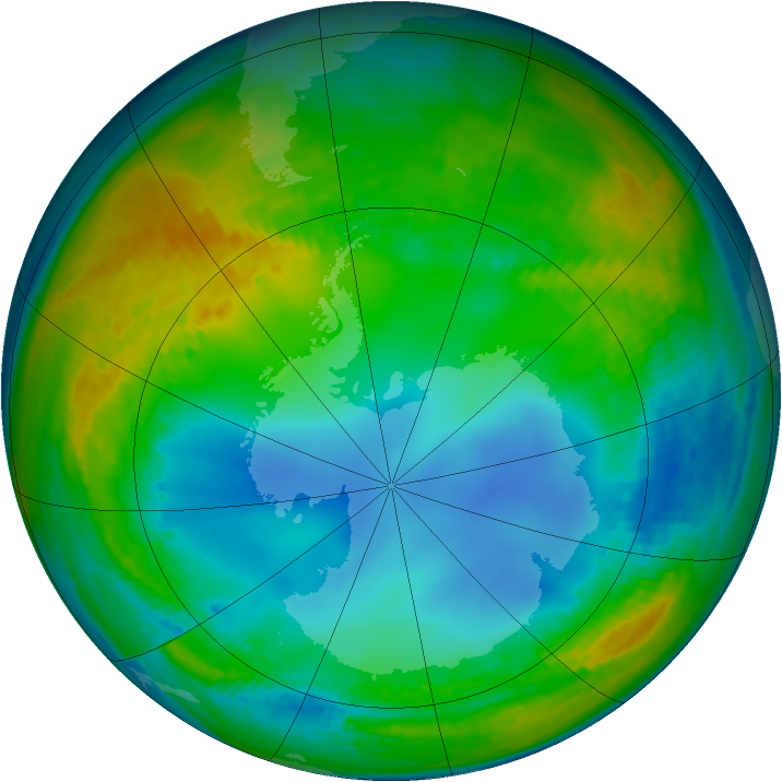 Antarctic ozone map for 21 July 2002
