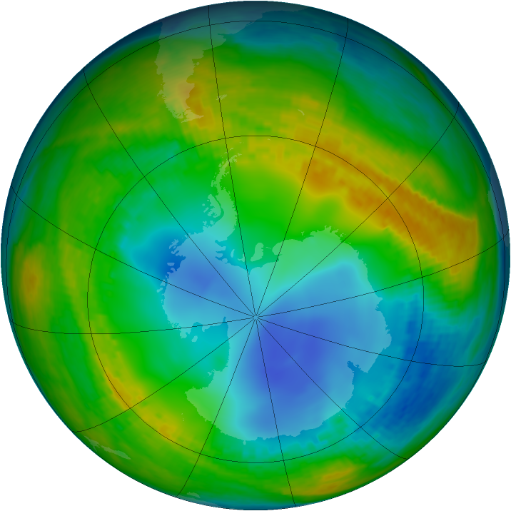 Antarctic ozone map for 24 July 2002
