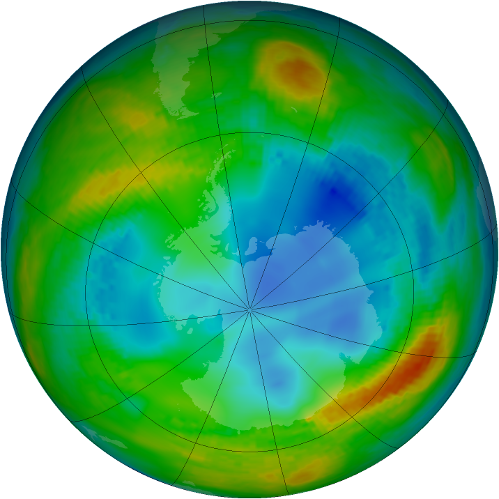 Antarctic ozone map for 02 August 2002