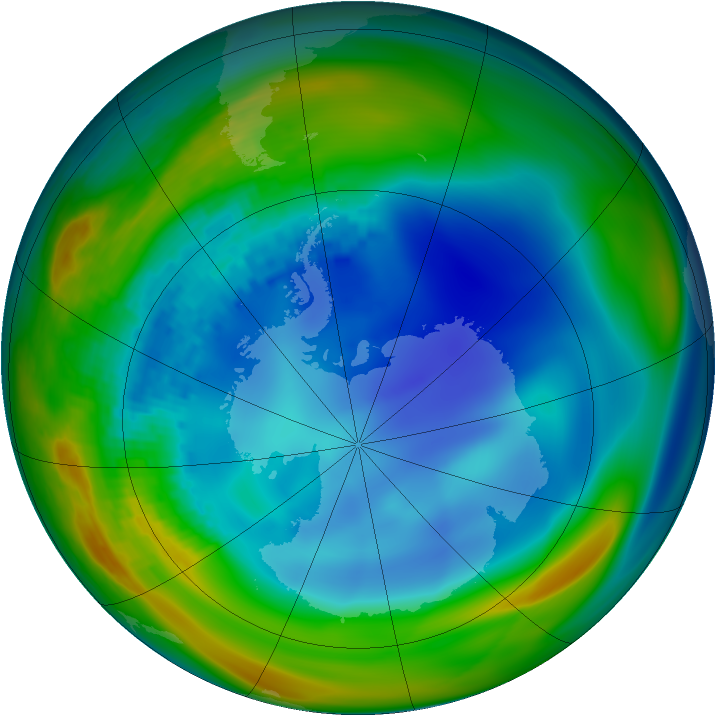Antarctic ozone map for 12 August 2002