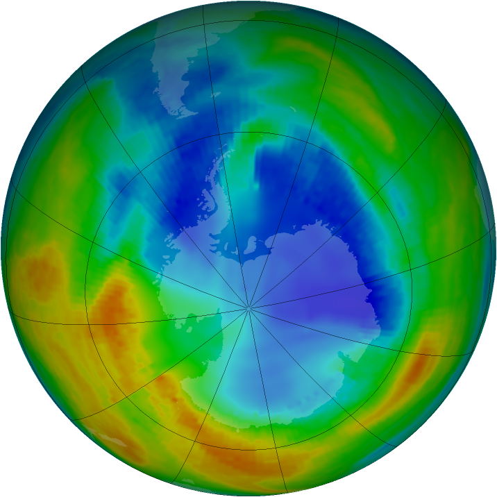 Antarctic ozone map for 15 August 2002