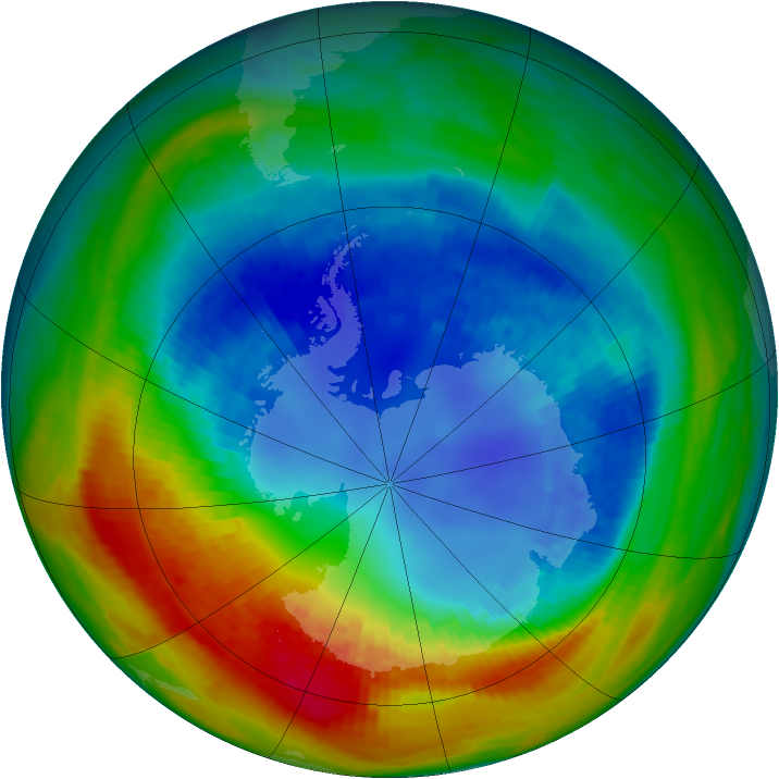 Antarctic ozone map for 24 August 2002